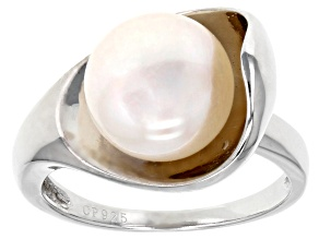 Cultured Freshwater Pearl Rhodium Over Sterling Silver Ring 10-11mm
