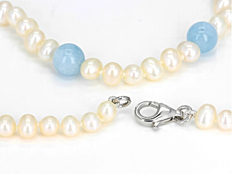 Cultured Freshwater Pearl And Aquamarine Rhodium Over Sterling Silver Necklace 5-6mm