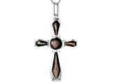 Black Mother Of Pearl Rhodium Over Sterling Silver Cross Pendant With Chain