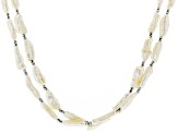 Cultured Freshwater Pearl Rhodium Over Sterling Silver Necklace Free Form