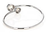 White Cultured South Sea Mabe Pearl Rhodium Over Sterling Silver Bangle Bracelet 9-11mm