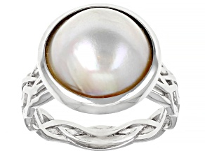 White Cultured South Sea Mabe Pearl Rhodium Over Sterling Silver Ring 13mm