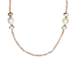 freshwater pearl, prehnite and moonstone 18k yellow gold over sterling silver necklace