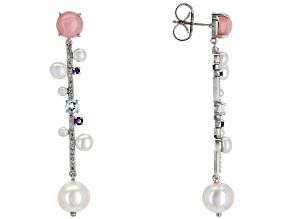 Cultured Freshwater Pearl, Opal, Amethyst, Blue Topaz, And White Topaz Rhodium Over Silver Earrings