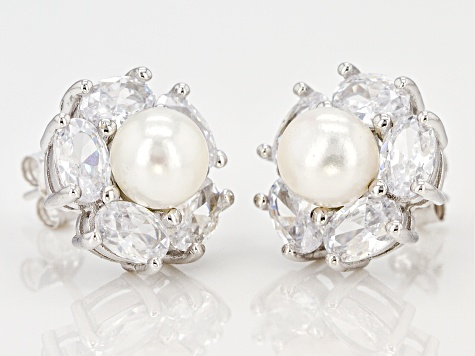 cultured freshwater pearl and cubic zirconia rhodium over sterling silver earrings