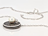 6-6.5mm Cultured Freshwater Pearl And Black Cubic Zirconia Rhodium Over Silver Adjustable Necklace