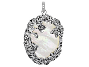 White Mother Of Pearl Rhodium Over Sterling Silver Pendant