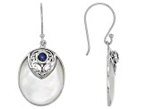 white mother of pearl and sapphire rhodium over sterling silver earrings.