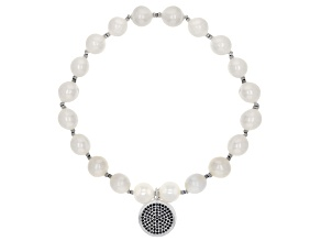 Cultured Freshwater Pearl, Cubic Zirconia & Hematine, Rhodium Over Sterling Silver Stretch Bracelet