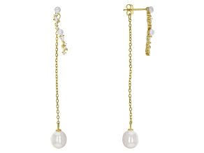Cultured Freshwater Pearl And Cubic Zirconia 18k Yellow Gold Over Sterling Silver Earrings