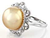 14mm Golden Cultured South Sea Pearl & .44ctw White Zircon Rhodium Over Silver Ring