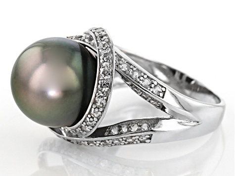12mm Cultured Tahitian Pearl & .95ctw White Topaz Rhodium Over Sterling Silver Ring