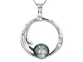 8-9mm Cultured Tahitian Pearl & White Topaz Rhodium Over Silver Pendant With Chain