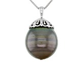 15mm Cultured Tahitian Pearl Rhodium Over Sterling Silver Pendant with Chain
