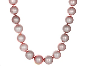 Genusis Pearls(™)11-14mm Natural Pink Cultured Freshwater Pearl Rhodium Over Silver Necklace