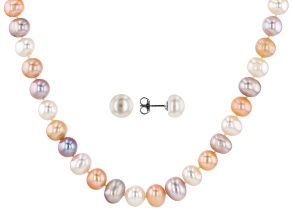 9-10mm Multicolor Cultured Freshwater Pearl Rhodium Over Silver Necklace & Earrings Set