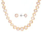 9-10mm Peach Cultured Freshwater Pearl Rhodium Over Silver Necklace & Earrings Set