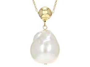 Genisus(TM) 12-12.5mm White Cultured Freshwater Pearl 14k Yellow Gold 18 Inch Gold Bead Necklace
