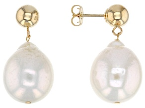 Genisus(TM) 12-12.5mm White Cultured Freshwater Pearl 14k Yellow Gold Earrings