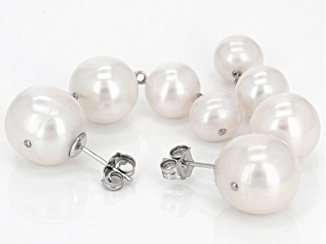 6-11.5mm White Cultured Freshwater Pearl Rhodium Over Sterling Silver Earrings