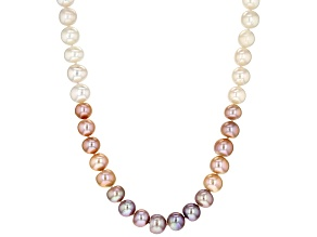 Multi-Color Cultured Freshwater Pearl Rhodium Over Silver 18 Inch Necklace with 1.5 Inch Extender