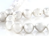 Genusis (TM) 9.5-13mm White Cultured Freshwater Pearl Rhodium Over Sterling Silver 28