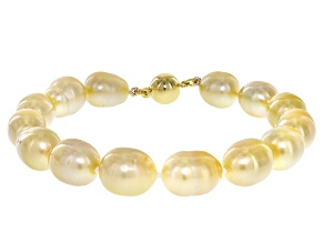 9mm Golden Cultured South Sea Pearl 18k Yellow Gold Over Sterling Silver 8 Inch Bracelet
