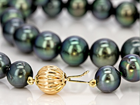 8-10MM CULTURED GAMBIER TAHITIAN PEARL 14K YELLOW GOLD 18 INCH STRAND NECKLACE