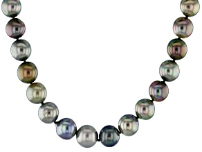 8-10mm Multicolor Cultured Gambier Tahitian Pearl, 14k Yellow Gold 18 Inch Strand Necklace