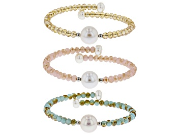 Picture of 6-11mm White Cultured Freshwater Pearl & Crystal Stainless Steel Wire Bracelet Set Of 3