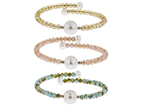 6-11mm White Cultured Freshwater Pearl & Crystal Stainless Steel Wire Bracelet Set Of 3