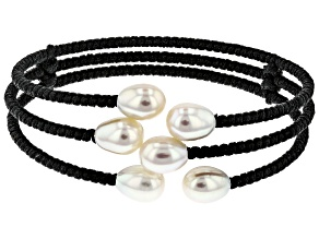 7-8mm White Cultured Freshwater Pearl, Black Cord Wrap Bracelet