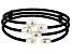 7-8mm White Cultured Freshwater Pearl, Black Cord Wrap Bracelet