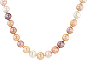 9.5-13mm Multi-Color Cultured Freshwater Pearl, Rhodium Over Silver 20 Inch Strand Necklace