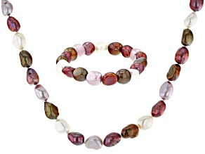 7-9mm Multi-Color Cultured Freshwater Pearl Rhodium Over Silver Necklace & Stretch Bracelet Set