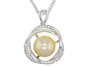 10mm Golden Cultured Burmese South Sea Pearl & White Topaz Rhodium Over Silver Pendant With Chain
