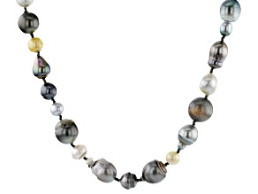 7.5-14mm Golden Cultured South Sea Pearl & Cultured Tahitian Pearl 64 Inch Endless Strand Necklace