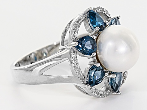 9.5-10mm Cultured Freshwater Pearl & London Blue and White Topaz Rhodium Over Silver Ring