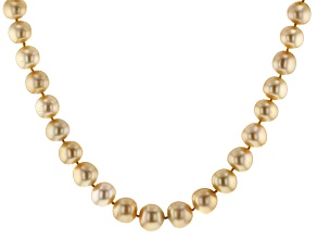 12-15mm Golden Cultured South Sea Pearl 14k Yellow Gold 18 Inch Strand Necklace