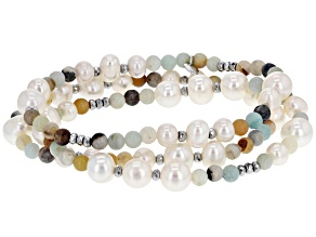6-7.5mm Cultured Freshwater Pearl, Amazonite, Hematine Rhodium Over Silver Stretch Bracelet Set Of 3