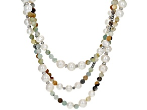 6-7.5mm Cultured Freshwater Pearl, Amazonite & Hematine, Rhodium Over Silver 18 Inch Necklace