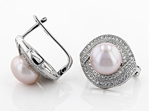 10-11mm Pink Cultured Kasumiga Pearl & Bella Luce(TM) Diamond Simulant Rhodium Over Silver Earrings