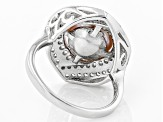 10-11mm Pink Cultured Kasumiga Pearl & Bella Luce(TM) Diamond Simulant Rhodium Over Silver Ring