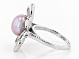 10-12MM PURPLE CULTURED KASUMIGA PEARL  RHODIUM OVER STERLING SILVER RING