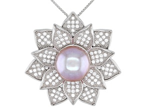 Purple Cultured Kasumiga Pearl With Cubic Zirconia Rhodium over Silver Pendant 10-11mm