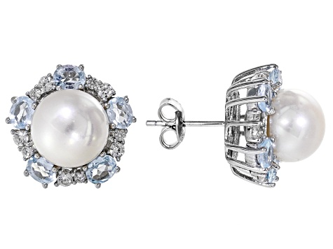 9.5-10mm White Cultured Freshwater Pearl, Blue Topaz & Zircon Rhodium Over Silver Earrings