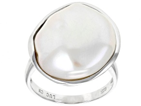 14-18mm White Cultured Freshwater Pearl Rhodium Over Sterling Silver Solitaire Ring
