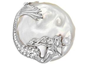 Cultured Freshwater Pearl & Bella Luce(TM) Diamond Simulant Rhodium Over Silver Mermaid Pendant