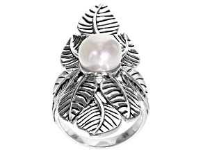 9mm White Cultured Freshwater Pearl Rhodium Over Sterling Silver Ring