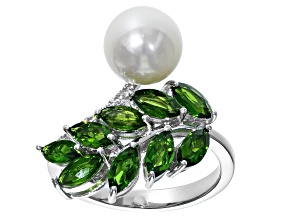 9-9.5mm Cultured Freshwater Pearl, Chrome Diopside & White Zircon Rhodium Over Silver Ring
